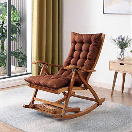 LSLY Chaise Longue Pieghevole in bambù Sedia a Dondolo Regolabile Reclinabile da Giardino per Prendere Il Sole con poggiapiedi e Balcone per Massaggi estesi