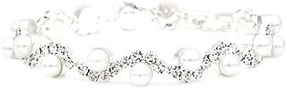 JSEA Womens 4mm Faux Pearl Wave Link Bracelet Silver Tone Rhinestone Bracelets Girls