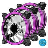 EASYDIY 120mm PWM PCケースファン 高風量静音デュアルフレーム紫色LEDケースファン, PCケースファン、CPUクーラー用- 3本1セット(3個紫の 4ピン)