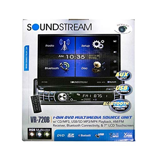 """Soundstream VR-720B Multimedia Receiver/Single DIN, 7"""" in-Dash Flip Up DVD, with Bluetooth"""