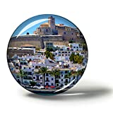 Hqiyaols Souvenir España Castillo de Ibiza Imanes Nevera Refrigerador Imán Recuerdo Coleccionables Viaje Regalo Circulo Cristal 1.9 Inches