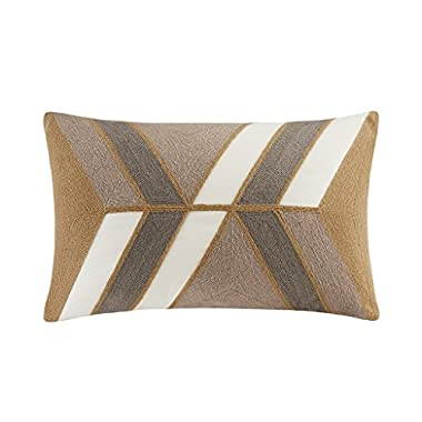INK+IVY II30-759 Aero Embroidered Abstract Decorative Pillow 12x20 Natural, 12 x 20