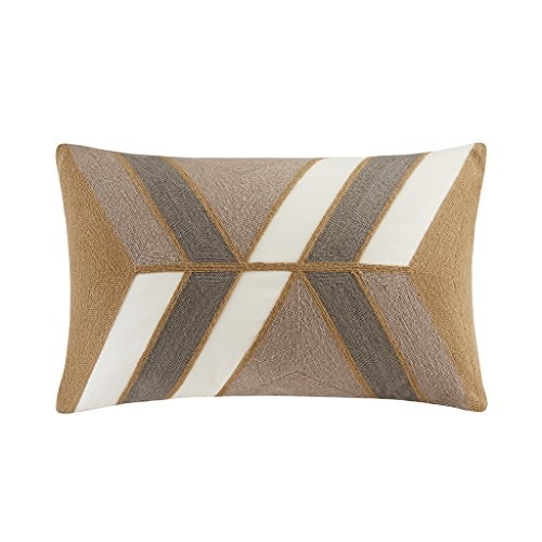 INK+IVY Aero Cotton Decorative Pillow-Mid Century Modern Abstract Geometric Design Feather and Down Filled Sofa Cushion Lumbar, Back Support, 12x20, Neutral
