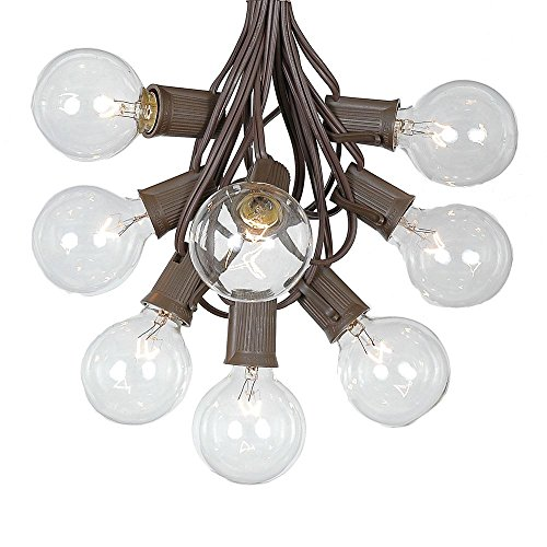 G50 Patio String Lights with 25 Clear Globe Bulbs – Outdoor String Lights – Market Bistro Café Hanging String Lights – Patio Garden Umbrella Globe Lights - Brown Wire - 25 Feet
