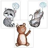 Wandbilder 3er Set für Baby & Kinderzimmer Deko Poster Pusteblume'Waschbär Bär Maus' |...