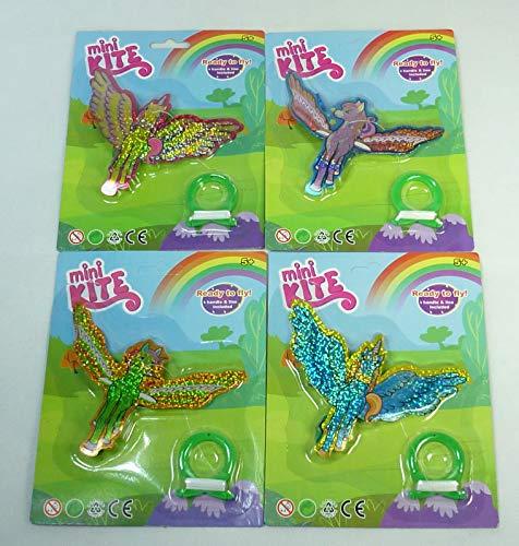 (4577) 4 x Mini Kite Drachen Flugdrache - Ready to Fly! Fertig zum fliegen! Mitgebsel, Tombola, Geschenketüte, Kindergeburtstag, Party