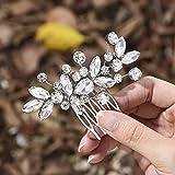 Mayelia Peine para el pelo de novia de cristal, accesorios para el cabello de novia, accesorio para el cabello con diamantes de imitación para mujeres y