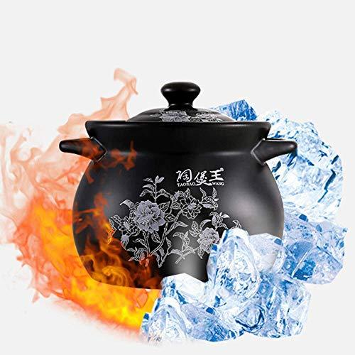 YWYW Pentola a Gas Casseruola in Ceramica con Coperchio, pentole per stufati di Argilla per Uso Domestico - Lasciati innamorare della Cucina, Nero-7L