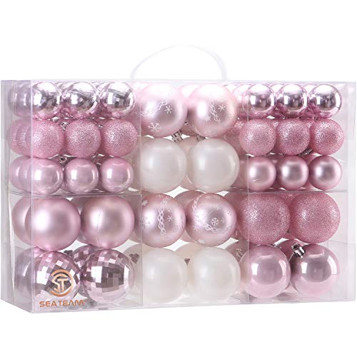 Sea Team 86 Pieces of Assorted Christmas Ball Ornaments Shatterproof Seasonal Decorative Hanging Baubles Set with Reusable Hand-held Gift Package for Holiday Xmas Tree Decorations, Pink