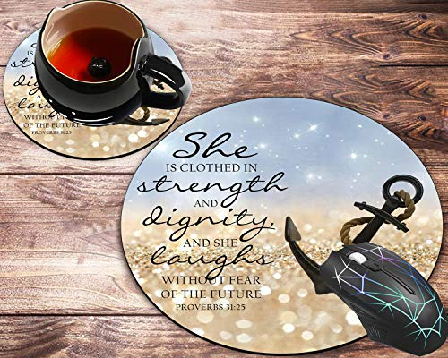 Round Mouse Pad and Coaster Set, Bible Quotes About Strength Anchor Bible Verse Proverbs 31:25 Mousepad, Non-Slip Rubber Base Gaming Mouse Pads for Working Or Game