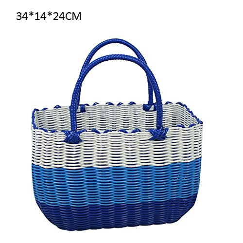 Xuan - Worth Having Bleu et Blanc Tissu en Plastique Fait à la Main Panier à Main Bain Le Panier Panier Panier Pique-Nique Anti-Corrosion (Taille : 34 * 14 * 24cm)