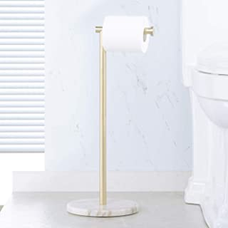 KES Bathroom Toilet Paper Holder Stand Tissue Roll Holder with Modern White Marble Base, SUS304 Stainless Steel Brushed Brass Finish BPH284S1-BZ