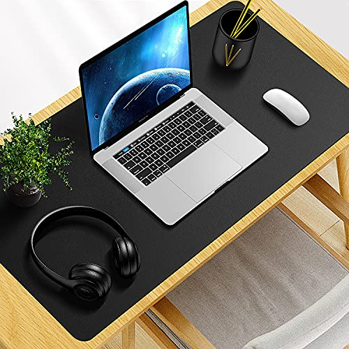 """Anti-Slip Desk Pad Protector, 31.5"""" x 15.7"""" Waterproof PU Leather Desk Mat, Large Mouse Pad Desk Blotter Protector with Non-Slip Rubber Desk Writing Mat for Office and Home (Black)"""