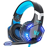 VersionTECH. G2000 Stereo Gaming Headset for PC, Xbox One, PS4, Nintendo Switch, Wired Gaming Chat Headphones with 3D Surround Sound, Noise-Cancellation Microphone,Volume Control & LED Lights