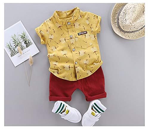 Baby Kleidung LXQ Summer Childrens Kurzarm-Anzug-Hemd-Twitter-Anzug (Farbe : Gelb, Größe : 110)