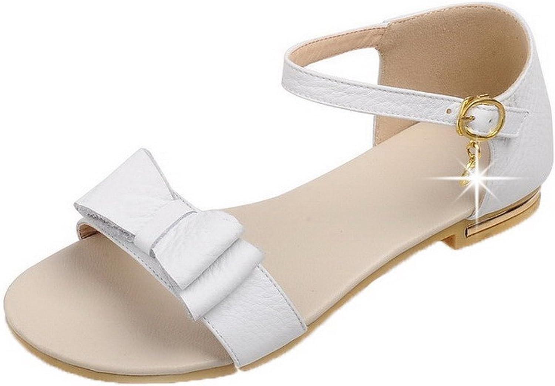 WeenFashion Women's Buckle PU Open-Toe Low-Heels Solid Sandals
