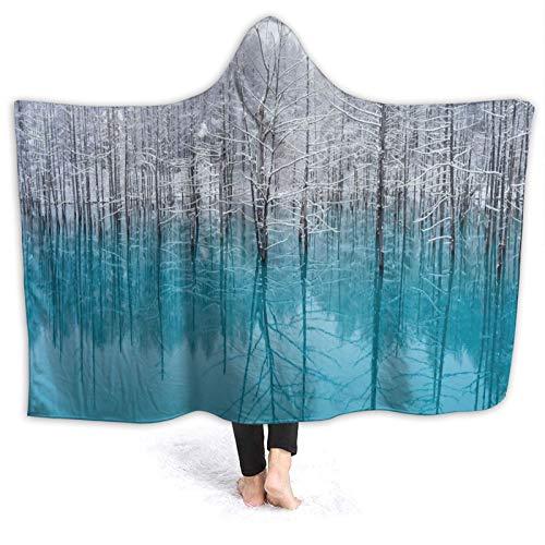 HATESAH Manta con Capucha,Cold Forest Japón Lago Paisaje Niebla Naturaleza,Suave Siesta ponible Mantas de Viaje/Vacaciones/Casual 80x60