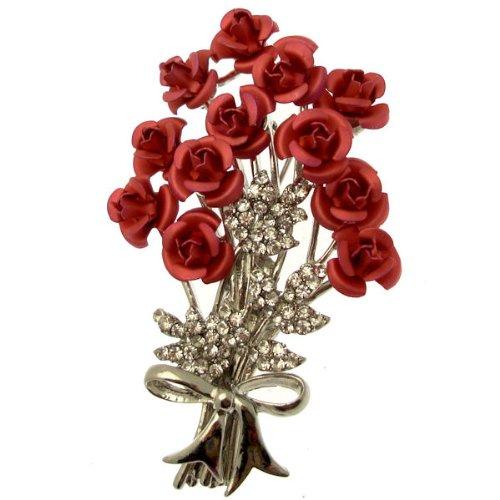 Acosta brooches–Rosa Fucsia Rose & Crystal–Ramo de flores broche (tono de plata)–Caja de Regalo