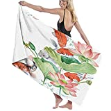 Bath Towels,Colorful Fish Watercolor Koi Carp and Lotus Flower Pink Animal Asia,Super Soft,High Absorbent,Large Towel Blanket for Bathroom,Beach or Swimming Pool,52' x 32'
