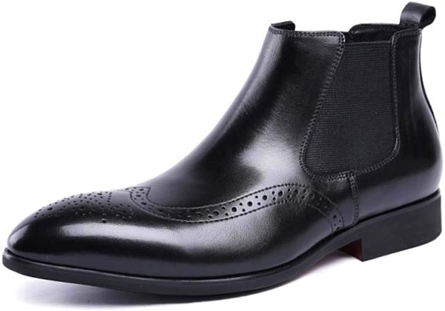 Mens Leather Chelsea Boots in Black - Formal Casual Low Ankle Boots Waterproof Martin Boots