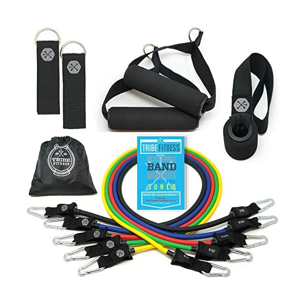 Tribe 11PC Premium Resistance Bands Set, Workout Bands – with Door Anchor, Handles and Ankle Straps – Stackable Up To 105 lbs – For Resistance Training, Physical Therapy, Home Workouts, Yoga, Pilates