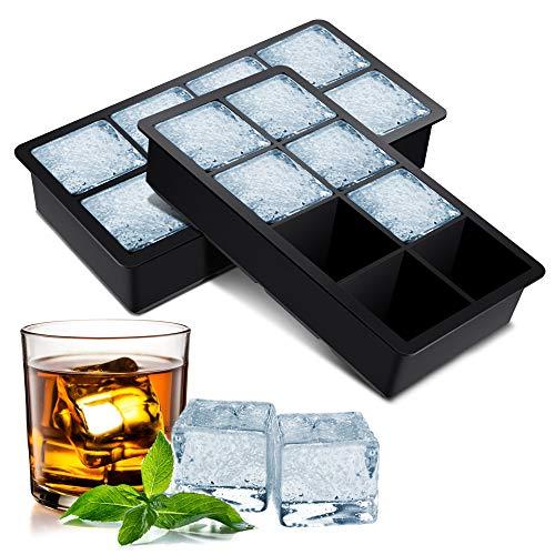 BROTOU Silikon Eiswürfelform, 2er Eiswürfel Form Eiswürfelbehälter BPA Frei 5cm Große Eiskugeln Runde Eiskugelformer Ice Tray Ice Cube für Bier Cocktails Whisky