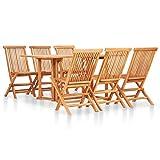 vidaXL Bois Solide de Teck Mobilier à Dîner d'Extérieur Pliable 7 pcs Salon de Jardin Ensemble de Salle à Manger Table et Chaises de Repas Terrasse Patio