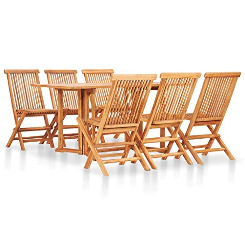 Tidyard 7 Piece Folding Outdoor Dining Set Solid Teak Wood 1 x Table 6 x Chair