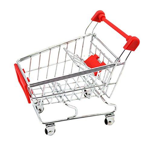 QIDOFAN carretilla Mini carro de compras del supermercado, carros de mano de Compras de utilidad de escritorio carro de almacenamiento, titular de la pluma de la Copa, accesorio de escritorio, Decorac