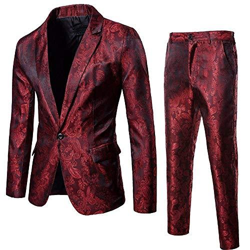 DAY8 Abito Cerimonia Uomo 2 Pezzi per Matrimonio Affari Festa Slim Fit Elegante Sposo Vestito Uomo Cappotto Giacca Blazer + Pantaloni Set Taglie Forti One Button Suit Cappotti (Bordeaux, L)
