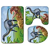 3Pcs Alfombra de baño antideslizante Juego de tapa de asiento de inodoro Juego de dinosaurio...
