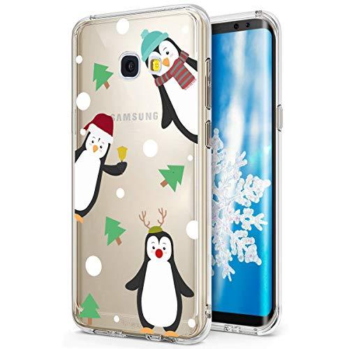 SevenPanda Samsung S8+ Plus Hülle Silikon, Galaxy S8 Plus Christmas Hülle, Clear Etui Bumper für Samsung Galaxy S8 Plus Durchsichtig Xmax Klar Snowflake Weihnachten Schneeflocke Case - Pinguinfamilie
