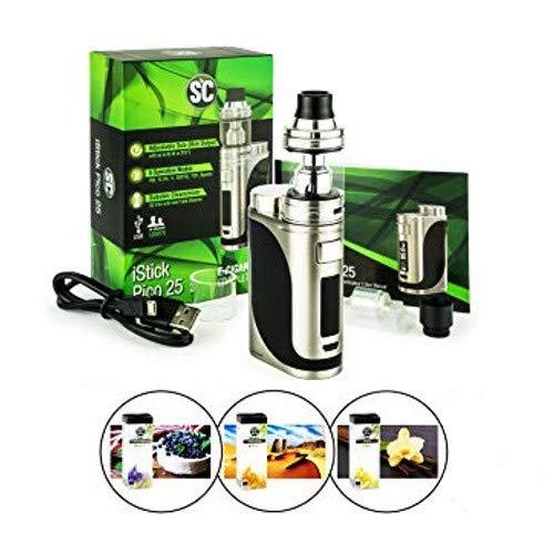 Eleaf iStick Pico 25 mit Ello 4ml Tank Verdampfer + 3x 10ml Liquid (ohne Nikotin) für E-Zigarette (edelstahl)