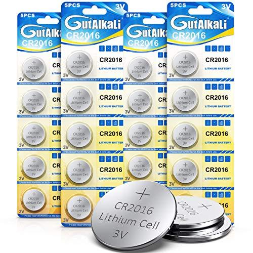 CR2016 Batteria al litio 3V, cella a bottone elettronico per calcolatrici giocattoli Orologi da auto a distanza (20 pezzi)