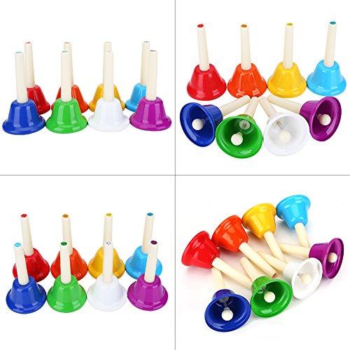Handglocken, Bunte 8 Hinweis Metall Diatonische Handglocke Set für Kinder Musik Früherziehung Brain Development Game Playing