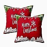 N\A Fundas de Almohada navideñas, Fundas de Almohada Decorativas para niños Feliz Navidad Feliz año Nuevo Árboles Papel de Fondo Rojo Arte Origami Estilo Fundas de Almohada navideñas 2 Piezas