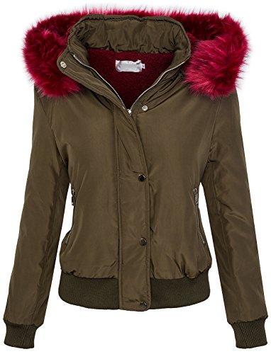 Rock Creek Selection Designer damesjas korte winterjas capuchon gevoerd warme binnenvacht D-260 S-XL