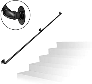 1ft-10ft. Handrail - Complete Kit. for Indoors and Outdoors,Iron Water Pipe Design Stairs Staircase Handrail Banister Rail Support - Black