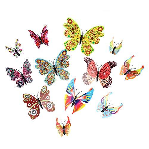 Starnearby vlinders deco magneet vlinders 3D vlinders deco 3D wanddecoratie 36 delen voor huis koelkast en muur Rode Wijn
