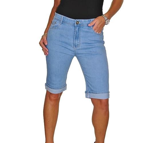 53671084b0 ICE Stretch Denim Jeans Shorts Contrast Turn Cuff Blue