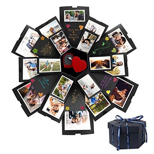 PUMYPOREITY Explosion Box, Creativo DIY Hecho a Mano Sorpresa Explosión Caja de Regalo Amor Memoria, Álbum de Fotos de Scrapbooking Caja de Regalo para Cumpleaños Día de San Valentín Aniversario