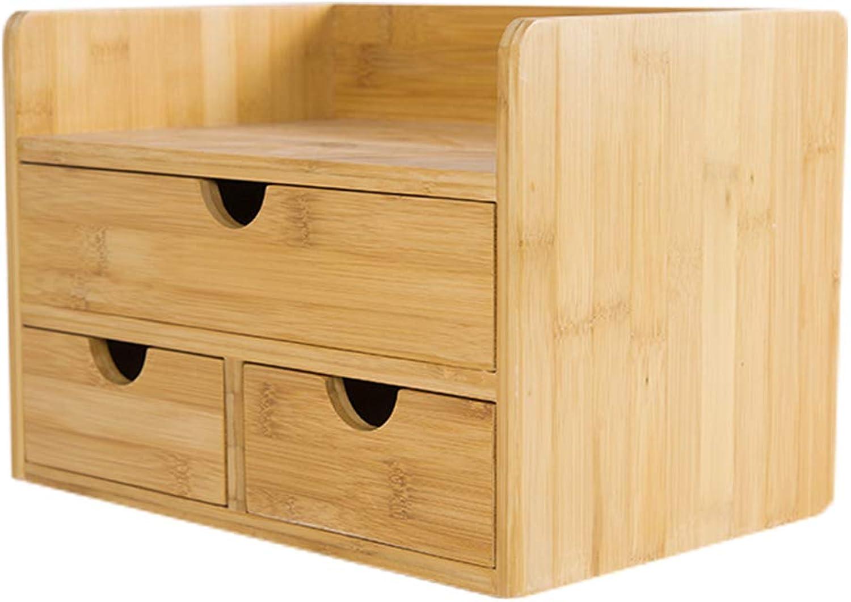 Bamboo Desktop Storage Box Bookshelf Office Desk Organiser with 3 Drawers Bookcase