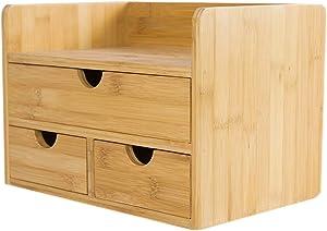 Boîte de Rangement de Bureau Grande capacité de Bureau Documents de Bureau Étagère organisatrice Étagère en Bambou Bibliothèques avec 3 tiroirs