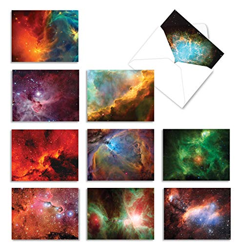 The Best Card Company, Galacticards - 10 Galaxy Note Cards Blank (4 x 5.12 Inch) - Colorful Space, Stars, Astronomy Cards for Kids M3977