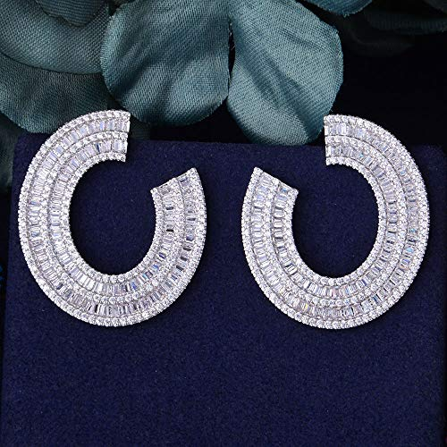 XUNPARA Estrella de Cine Completo Mirco Pave Cubic Zirconia joyería de Moda Plata Pendiente Curvado