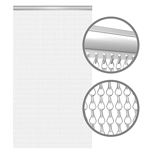 BriSunshine Premium Door Fly Screen 210x90cm Aluminium Chain Curtain Metal Door Curtain Insect Screen Double Hook Silver