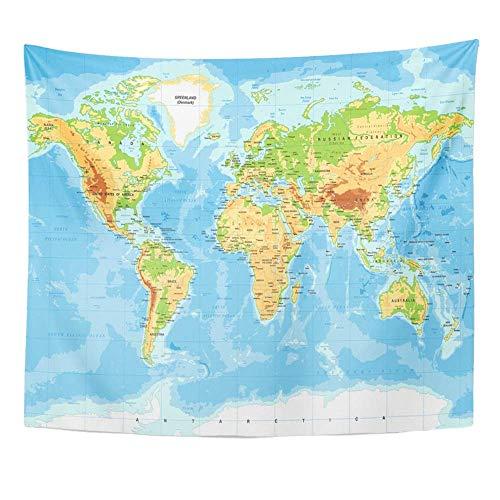 Tapicería Tela de poliéster Estampado Decoración para el hogar Azul Topográfico Mapa del Mundo físico Verde América Océano Sur Color detallado Tapiz Colgante de Pared para la Sala de Estar Dormitorio