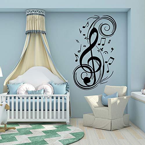 Musik Notizen Diy Home Wandtattoos PVC-Wandbild für Musikzimmer Kunst Poster Vinyl Kinderzimmer Aufkleber Dekoration Kaffee L 43cm X 73cm