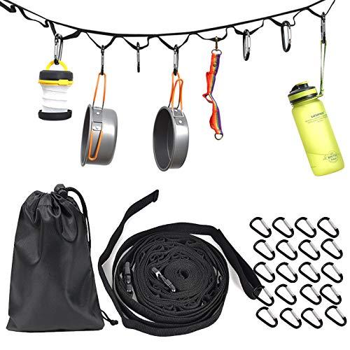 DY.2ten 4,5 m Outdoor Camping Seil Gurt mit 19 Schlüsselanhänger-Karabinern, tragbares Camping Hängeseil mit Haken für Camping, Wandern, Outdoor-Zelt-Zubehör, hängen Sie Ihre Campingausrüstung