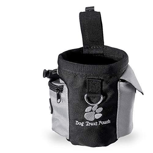 Sacchetto di cibo per cani,UEETEK Oxford sacchetto di trattamento del cane,sacchetto di allenamento per cani liberi per cani con dispenser a sacco integrato,Nero,12,5 * 8 * 12,5CM(L*W*H)